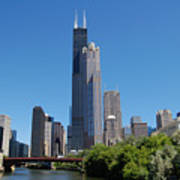 Downtown Chicago Skyline - View Along The River Poster by Suzanne Gaff