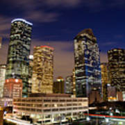 Downtown Houston At Night Poster