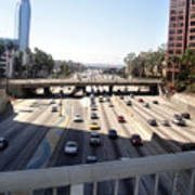 Downtown Los Angeles. 110 Freeway And Wilshire Bl Poster