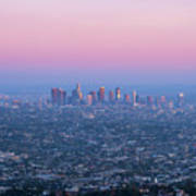 Downtown Los Angeles Skyline At Sunset Poster