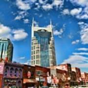 Downtown Nashville Blue Sky Poster