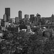 Downtown Pittsburgh In Black And White Poster