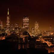 Downtown San Francisco At Night Poster