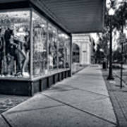 Downtown Sidewalk In Black And White Poster