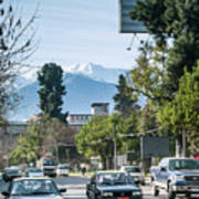 Downtown Street In Santiago De Chile City And Andes Mountains Poster