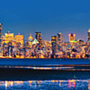 Downtown Vancouver From Spanish Banks Beach Poster