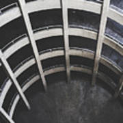 Downward Spiral - Looking Down Parking Garage Poster