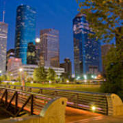 Dowtown Houston By Night Poster