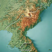 Dpr Korea 3d Render Topographic Map Border Poster