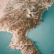 Dpr Korea 3d Render Topographic Map Neutral Border Poster