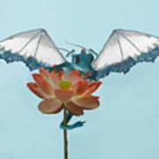 Dragon Peeks Around Flower Poster