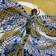 Dragonfly On Gold Scarf Poster