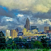 Dramatic Sky With Clouds Over Charlotte Skyline Poster