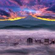 Dramatic Sunrise Over Foggy Downtown Portland Poster