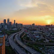 Dramatic Sunset Over Kuala Lumpur City Skyline Poster