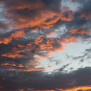 Dramatic Sunset Sky With Orange Cloud Colors Poster