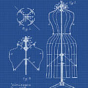 Dress Form Patent 1891 Blueprint Poster