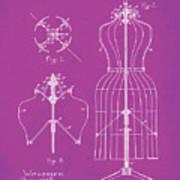 Dress Form Patent 1891 Pink Poster