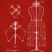 Dress Form Patent 1891 Red Poster