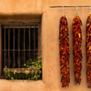 Dried Chilis And Window Poster
