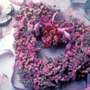 Dried Flower Heart Wreath Poster by Garry Gay