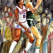 Dr.j Vs. Larry Bird Poster by Dave Olsen