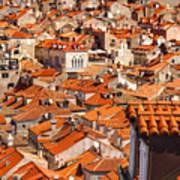 Dubrovnik Orange Old Town Rooftops Poster