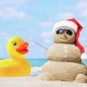 Ducky And Santa At The Beach Poster