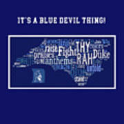 Duke University Blue And White Products Poster