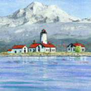 Dungeness Lighthouse With Mount Baker Poster