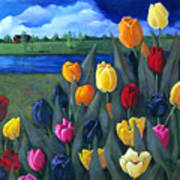 Dutch Tulips With Landscape Poster