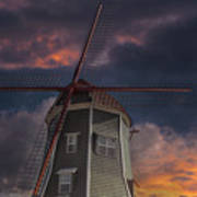 Dutch Windmill In Lynden Washington State At Sunset Poster