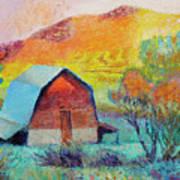 Dyeleaf Mountain Barn Sunrise Poster