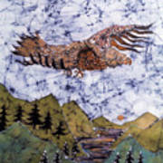 Eagle Flies Above Gorge Poster by Carol Law Conklin