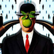 Ear Smoking Apple Guy Standing In The Man Rain Poster