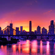Early Brisbane Sunset With Purple And Yellow Sky Poster