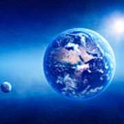 Earth Sunrise Deep Space Poster