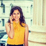 East Indian Woman Calling Outside Poster