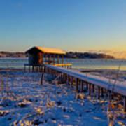 East Texas Snow, Lake Bob Sandlin, Texas. Poster