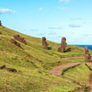 Easter Island Moai At Rano Raraku Poster