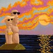 Easter Island Sunset Poster