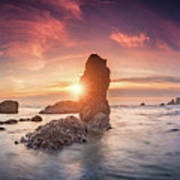 Ecola State Park Beach Sunset Pano Poster