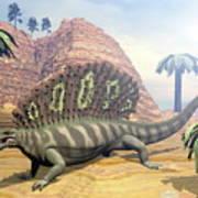 Edaphosaurus Dinosaur - 3d Render Poster