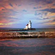 Edgewater Lighthouse Sunset Poster