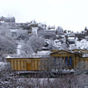 Edinburgh Castle And National Galleries Of Scotland In Winter Poster