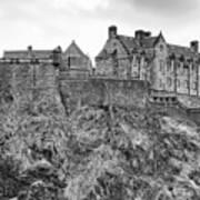 Edinburgh Castle Bw Poster