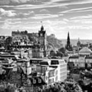 Edinburgh From Calton Hill.    Black And White Poster