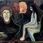 Edvard Munch - Girl And Three Mens Heads 1895-98 Poster