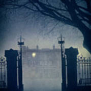 Eerie Mansion In Fog At Night Poster