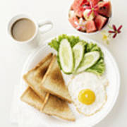 Egg Salad Toast Fruit And Coffee Breakfast Set Poster